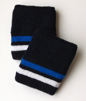 Blue White Bottom Stripe Quality Navy Wristband [6 pairs]