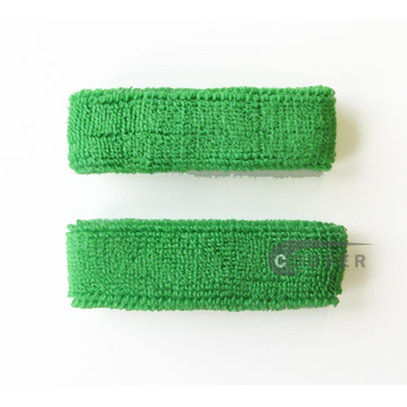 Bright Green 1inch thin cotton terry wrist sweatbands [3pairs]