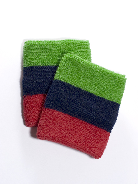 Bright green navy red 3color stripe athletic sweat wristbands