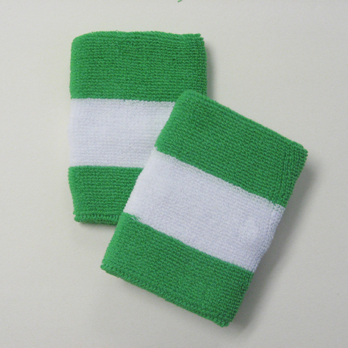 Bright green white brightgreen 2colored sports sweat wristbands