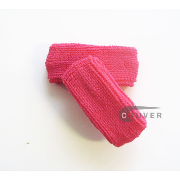 Bright pink 1inch thin cotton terry wrist sweatbands [3pairs]