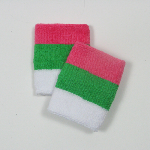 Bright pink bright green white sports wrist sweatbands