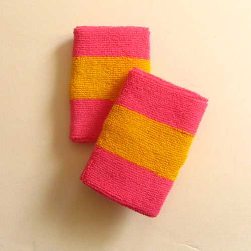 Bright pink golden yellow bright pink 2color striped wrist swea