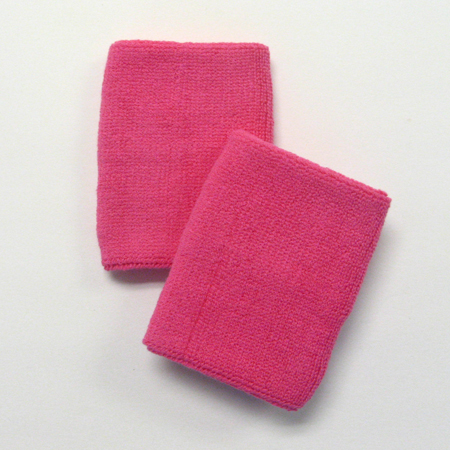 Bright Pink Wrist Sweatbands 4inch Wholesale