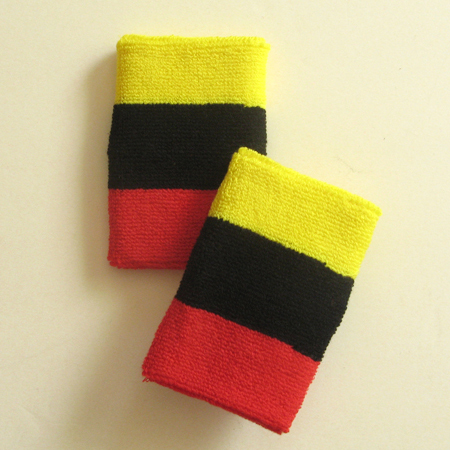 Bright yellow black red 3color striped wrist sweatband