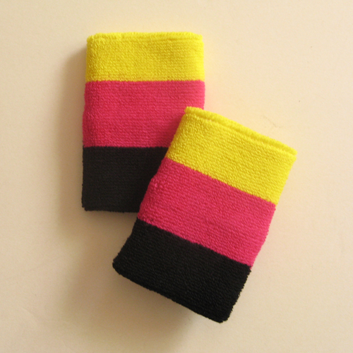 Bright yellow hot pink black 3color striped wrist sweatband