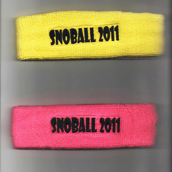 Custom Bright Yellow& Pink head Sweatband Black logo embroidery
