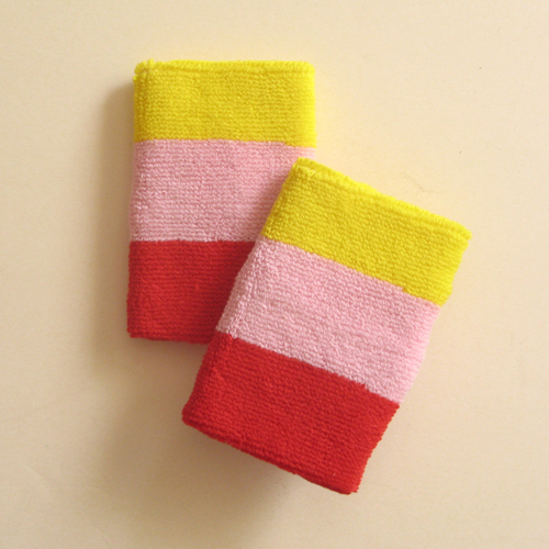 Bright yellow light pink red 3color striped wrist sweatband
