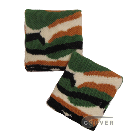 Camouflage(Green,White,Black) Cotton wristbands urban style [6 pairs]