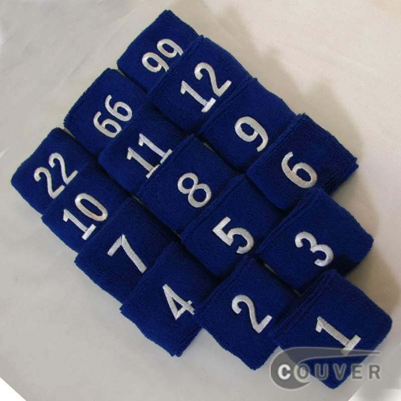 "Blue 2 1/2"" Tall Wristband w/ an Embroidered Number in White Text (1PC)"