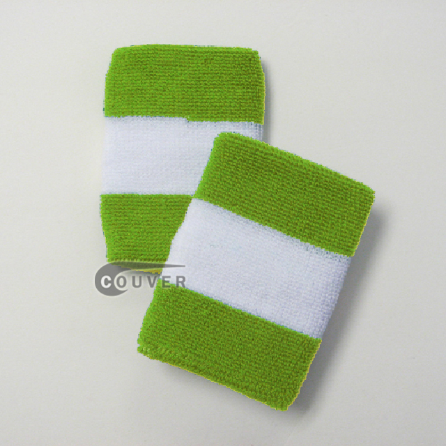 Couver Lime Green White 2 colored sports sweat wristbands wholesale