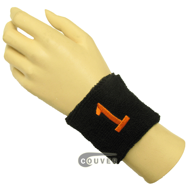 "Black 2 1/2"" wristband with Number 1(One) embroidered in Orange[1 Piece]"