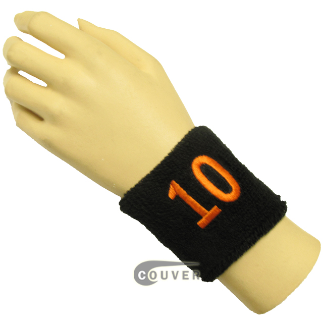 "Black 2 1/2"" wristband with Number embroidered in Orange - 10 (Ten)"