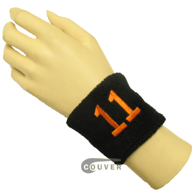 "Black 2 1/2"" wristband with Number embroidered in Orange - 11 (Eleven)"
