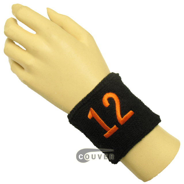 "Black 2 1/2"" wristband with Number embroidered in Orange - 12(Twelve)"