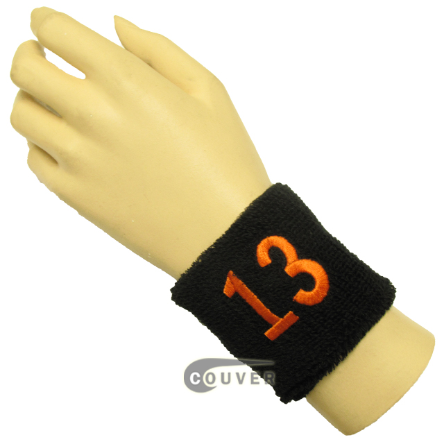 "Black 2 1/2"" wristband with Number embroidered in Orange - 13(Thirteen)"