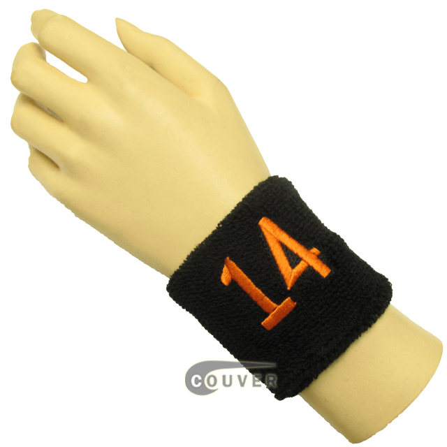 "Black 2 1/2"" wristband with Number embroidered in Orange - 14(Fourteen)"