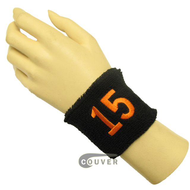 "Black 2 1/2""wristband with Number 15(Fifteen) embroidered in Orange[1PC]"
