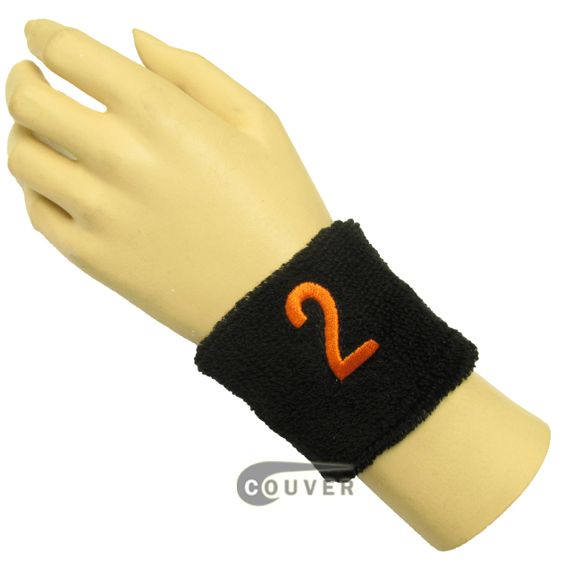 "Black 2 1/2"" wristband with Number embroidered in Orange - 2(Two)"