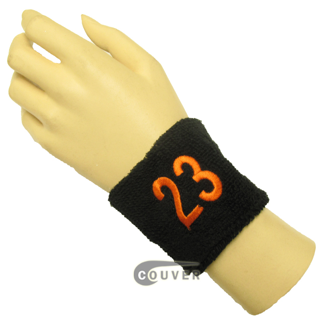 "Black 2 1/2""wristband with Number 23(Twenty-three) embroidered in Orange"