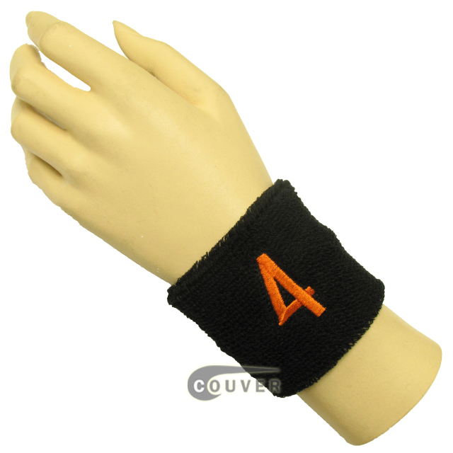 "Black 2 1/2"" wristband with Number embroidered in Orange - 4(Four)"