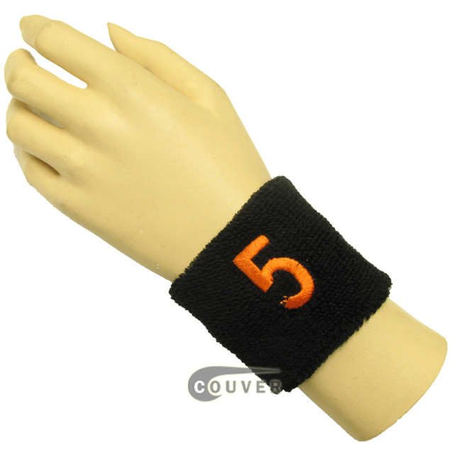 "Black 2 1/2"" wristband with Number embroidered in Orange - 5(Five)"
