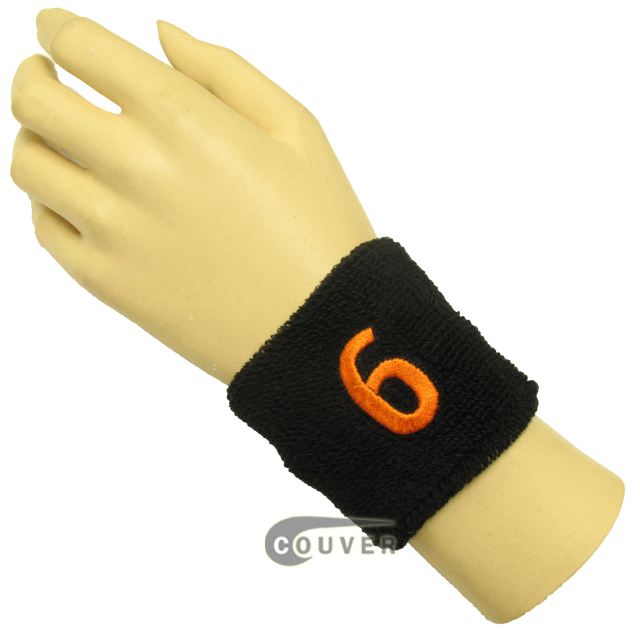 "Black 2 1/2"" wristband with Number embroidered in Orange - 6(Six)"