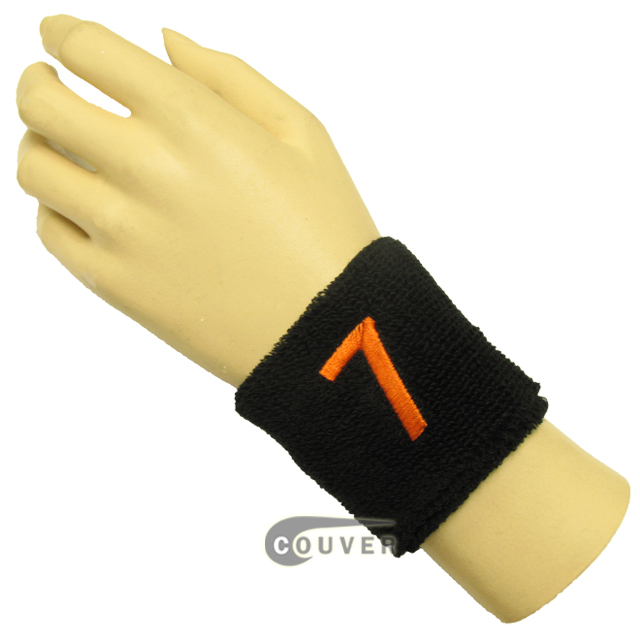 "Black 2 1/2"" wristband with Number embroidered in Orange - 7(Seven)"