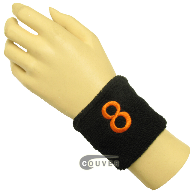 "Black 2 1/2"" wristband with Number embroidered in Orange - 8(Eight)"