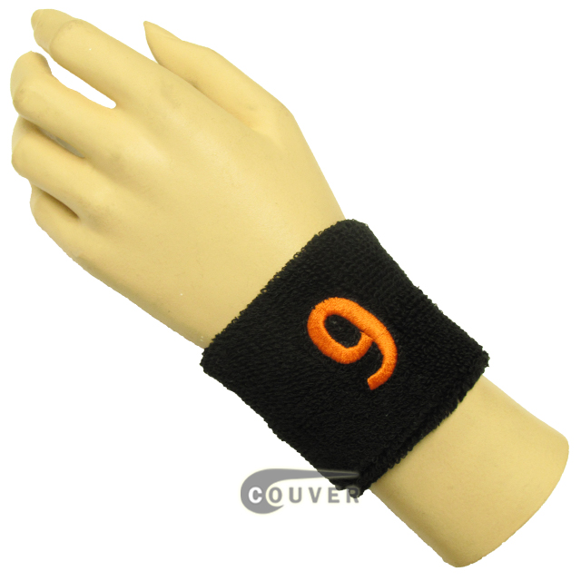 "Black 2 1/2"" wristband with Number embroidered in Orange - 9(Nine)"