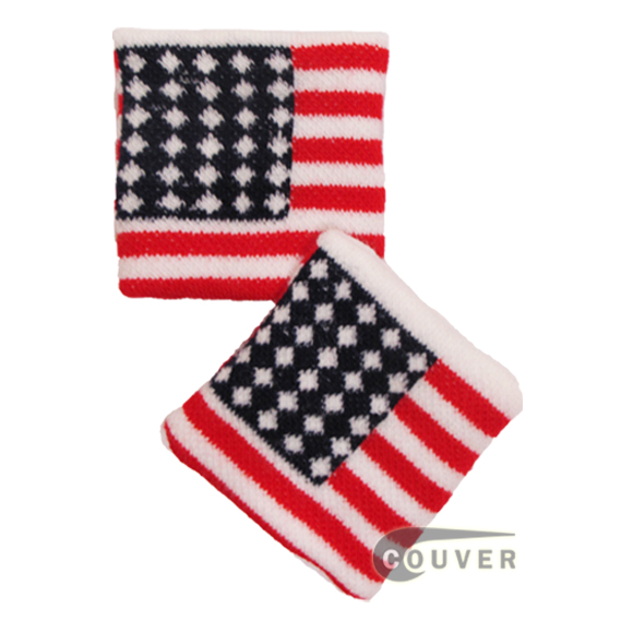 American(USA) Flag Pattern Cotton wristbands [6 pairs]