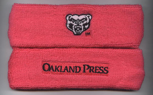 Customized bright pink headbands with double side logo