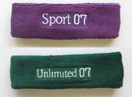 Custom Logo Embroidered Headband Sample Purple Green