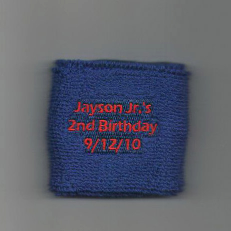 Custom navy youth wrist sweatband sample