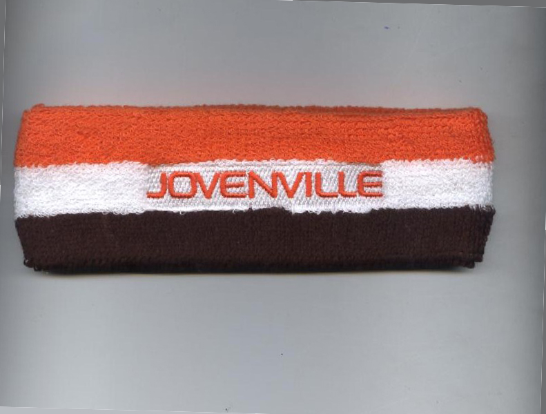 Custom Orange White Brown Striped Head Sweatband with Logo Embroidery