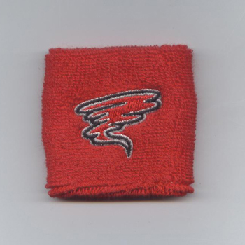Custom red youth wrist sweatband sample