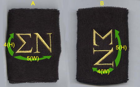 Customize Black Mens Wrist Sweatband Sample Gold thread