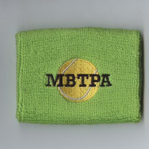 Customize Lime Green Mens Wrist Sweatband Sample vertical logo