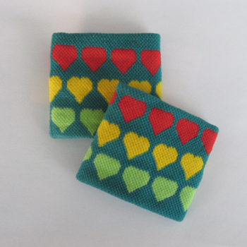 Cute kids girls colorful hearts green teal wristbands