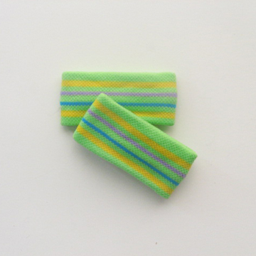 "Child's Cute 1"" Lime Green Yellow Striped Wrist Bands [2pairs]"