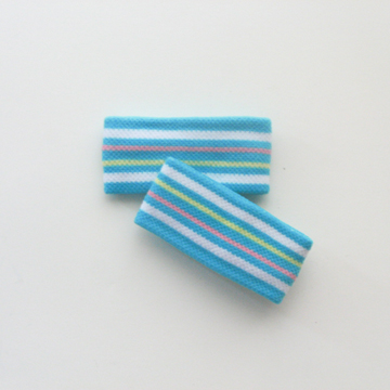 Childs Cute 1inch Turquoise Blue White Stripe Wristband [2pairs]