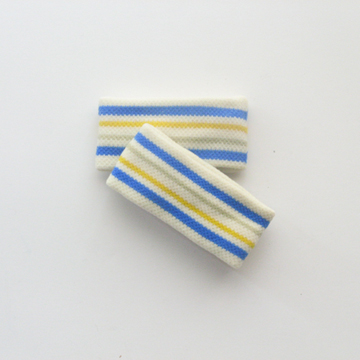 "Kid Girl Cute 1"" White Cerulean Blue Stripe Wrist Band [2pairs]"