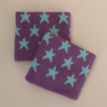 Blue Stars on Purple Wristbands for Girls and Children [2pairs]