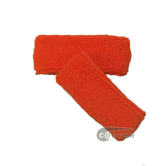 Dark Orange 1inch thin cotton terry wrist sweatbands [3pairs]