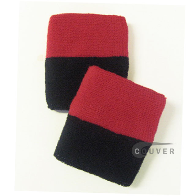 Dark Red Black 2Color Wrist Sweatbands Wholesale [6pairs]