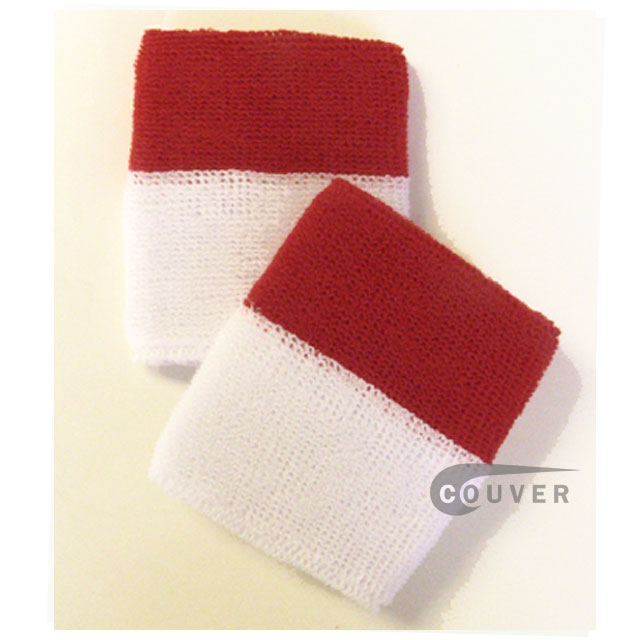 Wholesale Dark Red White 2-colored Sports Wristbands [6 pairs]