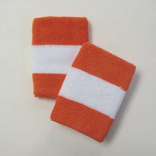 Dark orange white darkorange 2colored sports sweat wristbands wh