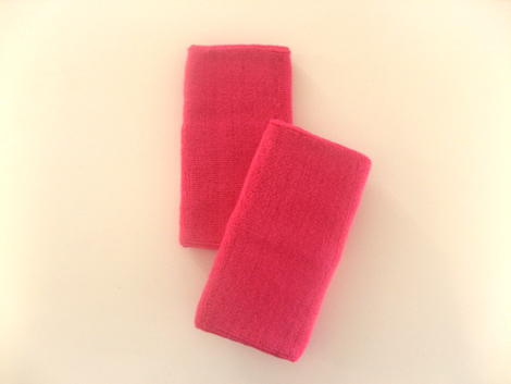 Extra Long Hot Pink Athletic Sweat Wristbands Pro [3pairs]