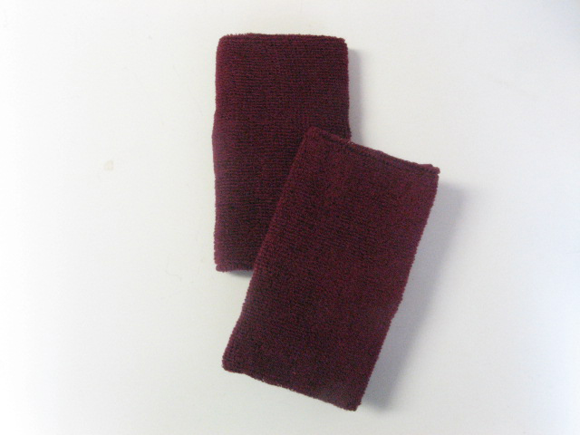 6-inch Extra Long Maroon Athletic Sweat Wrist Bands Pro [3pairs]
