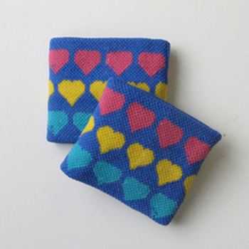 Kids Childs Girls Colorful Hearts Blue Wrist Bands [2pairs]
